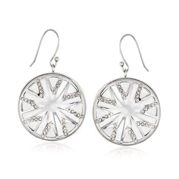 What's Your Sign? Simulated Clear Quartz and Rhinestone Starburst Drop Earrings in Stainless Steel, , default