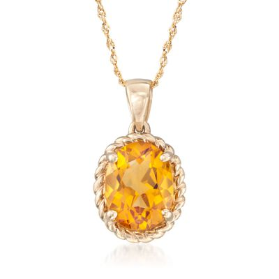 1.70 Carat Citrine Pendant Necklace in 14kt Yellow Gold, , default