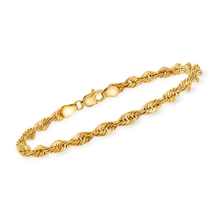 Italian 14kt Yellow Gold 4mm Rope Chain Bracelet, , default