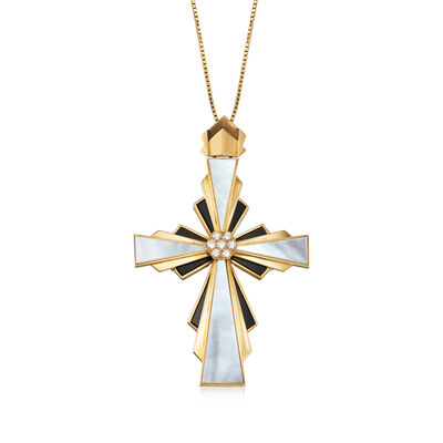 C. 1960 Vintage Mother-Of-Pearl and Onyx Cross Pendant Necklace with .50 ct. t.w. Diamonds in 18kt Yellow Gold, , default