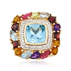 7.20 ct. t.w. Multi-Stone and .18 ct. t.w. Diamond Ring in 14kt Yellow Gold, , default