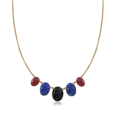 Red and Black Agate with Lapis Scarab Necklace in 14kt Yellow Gold