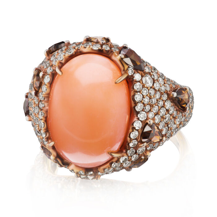 Pink Coral and 2.75 ct. t.w. Brown and White Diamond Ring in 18kt Rose Gold