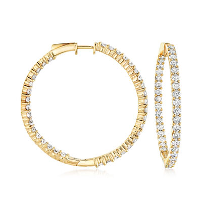 5.00 ct. t.w. Diamond Inside-Outside Hoop Earrings in 18kt Gold Over Sterling