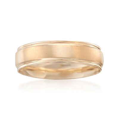 Men's 6mm 14kt Yellow Gold Brushed Wedding Ring, , default