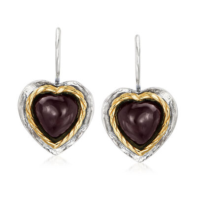 8.00 ct. t.w. Garnet Heart Drop Earrings in Sterling Silver and 14kt Yellow Gold