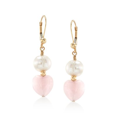 8-9mm Cultured Pearl and Rose Quartz Heart Bead Drop Earrings in 14kt Gold