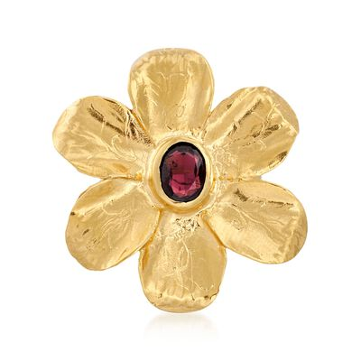 1.90 Carat Garnet Flower Ring in 18kt Yellow Gold Over Sterling Silver , , default