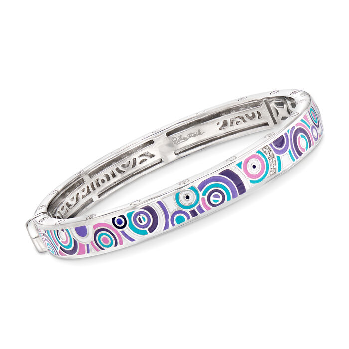 "Bella Etoile ""Emanation"" Multicolored Enamel Bangle Bracelet with CZ Accents in Sterling Silver. 7"", , default"