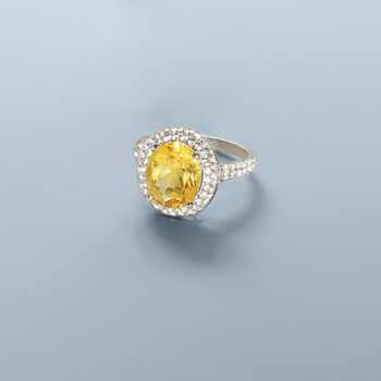 4.30 Carat Citrine Ring with 1.10 ct. t.w. White Sapphires in Sterling Silver