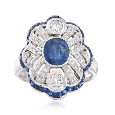 C. 1990 Vintage 3.30 ct. t.w. Sapphire and .50 ct. t.w. Diamond Ring in 18kt White Gold, , default