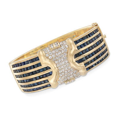 C. 1980 Vintage 19.00 ct. t.w. Sapphire and 1.90 ct. t.w. Diamond Bangle Bracelet in 14kt Yellow Gold