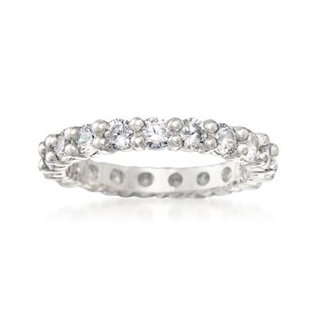 1.70 ct. t.w. CZ Eternity Band in Sterling Silver, , default