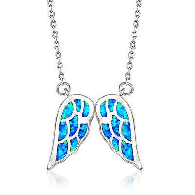 Blue Synthetic Opal Angel Wings Necklace in Sterling Silver, , default