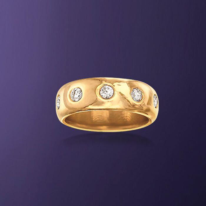 Italian Andiamo 14kt Yellow Gold and 1.00 ct. t.w. CZ Eternity Ring