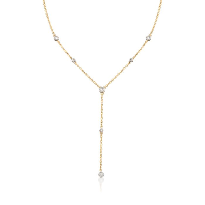 .26 ct. t.w. Bezel-Set Diamond Y-Necklace in 14kt Yellow Gold. 18""