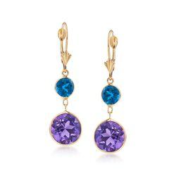 2.00 ct. t.w. London Blue Topaz and 8.00 ct. t.w. Amethyst Drop Earrings in 14kt Yellow Gold, , default