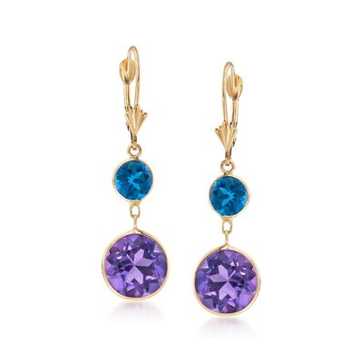 2.00 ct. t.w. London Blue Topaz and 8.00 ct. t.w. Amethyst Drop Earrings in 14kt Yellow Gold, , default