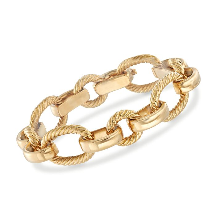 "Italian 18kt Yellow Gold Mixed Oval Link Bracelet. 7.75"", , default"