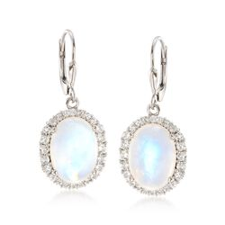 Moonstone and 1.60 ct. t.w. White Topaz Earrings in Sterling Silver, , default