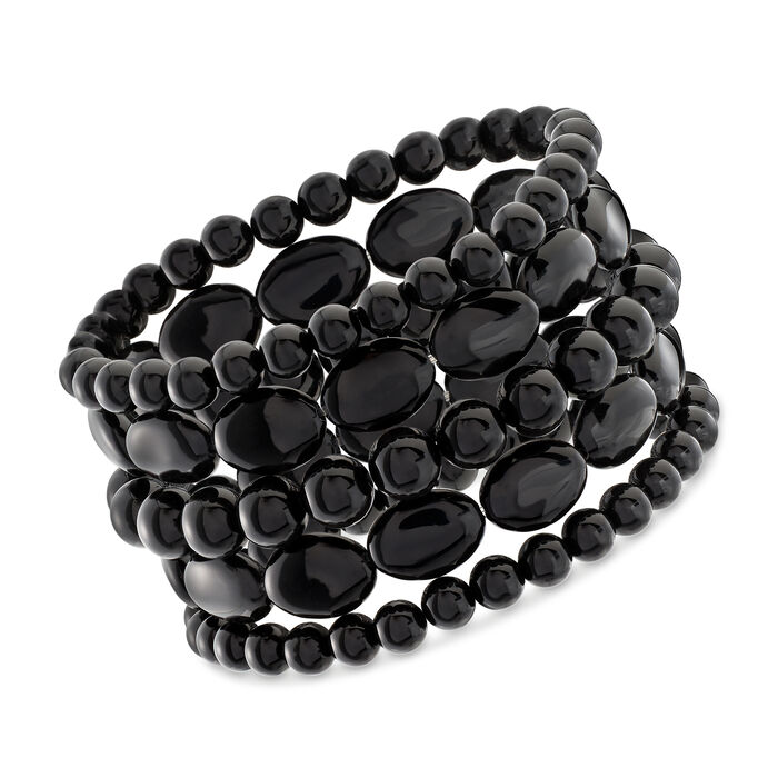 Black Agate Jewelry Set: Five Bead Stretch Bracelets