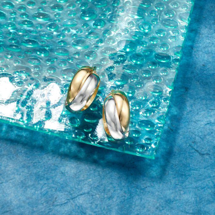 Italian 18kt Two-Tone Gold Crisscross Hoop Earrings