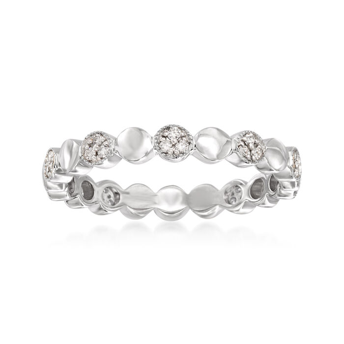 .13 ct. t.w. Pave Diamond Alternating Circle Eternity Band in 14kt White Gold. Size 7, , default