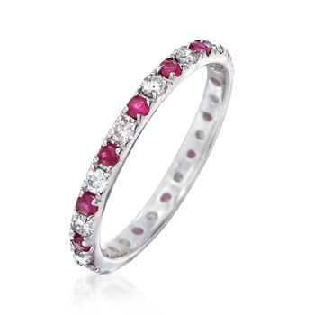 .65 ct. t.w. Ruby and .50 ct. t.w. Diamond Eternity Ring in 14kt White Gold, , default