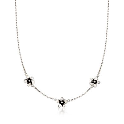 """Zina Sterling Silver """"Contemporary"""" Hibiscus Station Necklace, , default"""