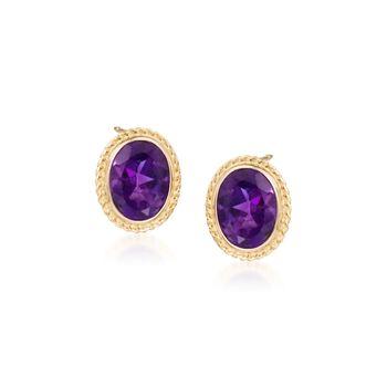 2.50 ct. t.w. Amethyst Twist Edge Earrings in 14kt Yellow Gold, , default