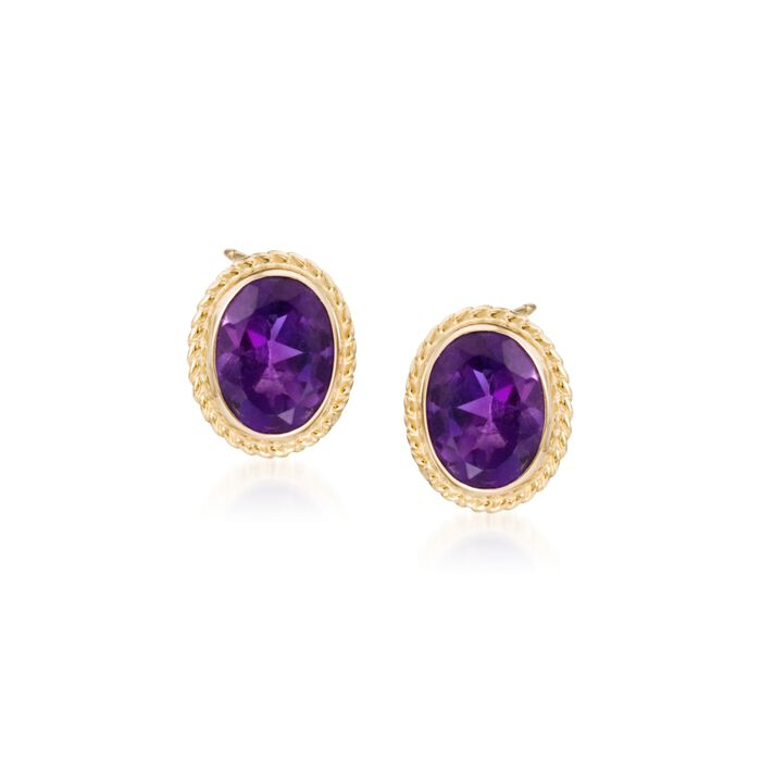 2.50 ct. t.w. Amethyst Twist Edge Earrings in 14kt Yellow Gold, , default