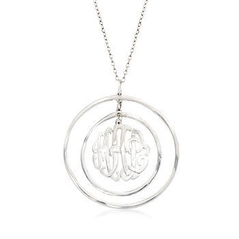 "Sterling Silver Monogram Open-Space Circle Pendant Necklace. 18.25"", , default"
