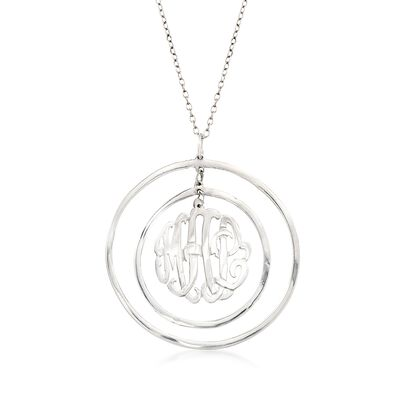 Sterling Silver Monogram Open-Space Circle Pendant Necklace, , default