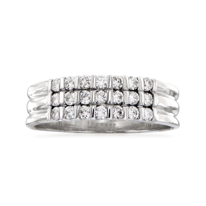 C. 1990 Vintage .30 ct. t.w. Diamond Three-Row Ring in 18kt White Gold. Size 7.5