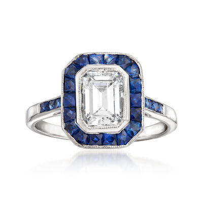 C. 1990 Vintage 1.05 Carat Diamond and 1.20 ct. t.w. Sapphire Ring in 18kt White Gold, , default