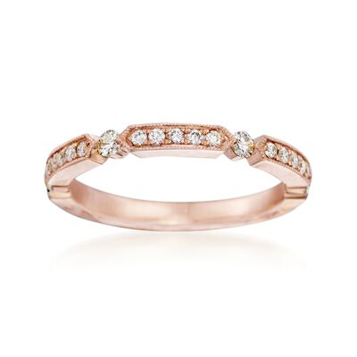 Henri Daussi .25 ct. t.w. Diamond Wedding Ring in 14kt Rose Gold, , default