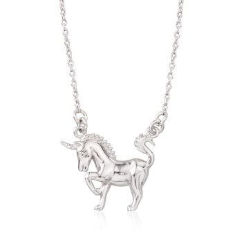 """Sterling Silver Unicorn Necklace With Crystal Accent. 16"""", , default"""