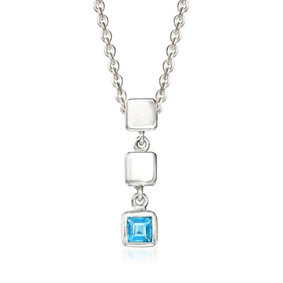 "Zina Sterling Silver ""Ice Cube"" .20 Carat Blue Topaz Drop Pendant Necklace, , default"
