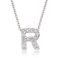 "Roberto Coin ""Tiny Treasures"" Diamond Accent Initial ""R"" Necklace in 18kt White Gold. 16"", , default"