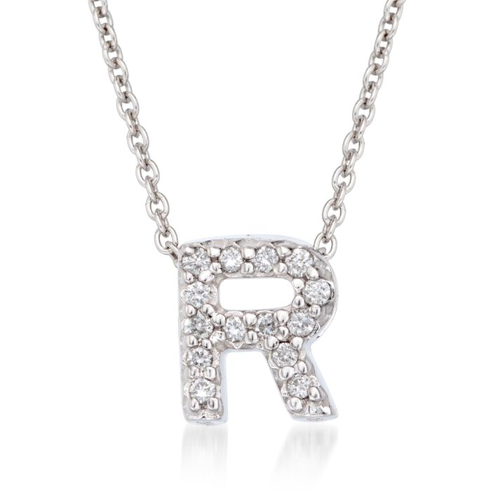 """Roberto Coin """"Tiny Treasures"""" Diamond Accent Initial """"R"""" Necklace in 18kt White Gold. 16"""", , default"""