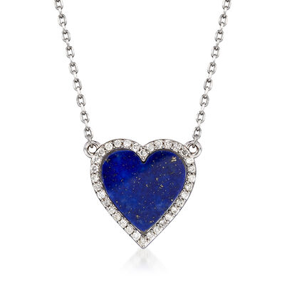Lapis and .35 ct. t.w. Diamond Heart Necklace in Sterling Silver, , default