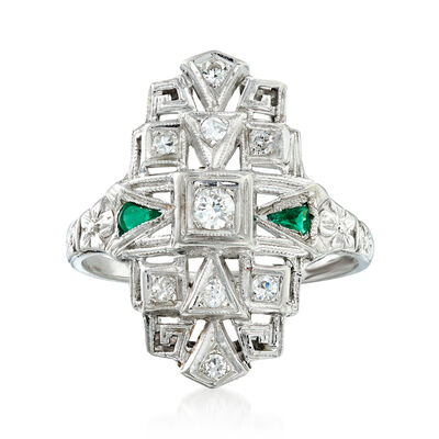 C. 1950 Vintage .25 ct. t.w. Diamond Dinner Ring with Emerald Accents in 18kt White Gold