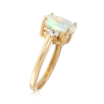 11x9mm Ethiopian Opal Ring with .10 ct. t.w. Diamonds in 14kt Yellow Gold, , default