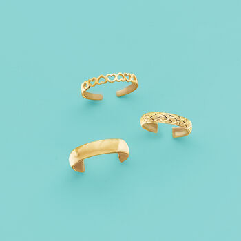 14kt Yellow Gold Diamond-Cut Adjustable Toe Ring, , default
