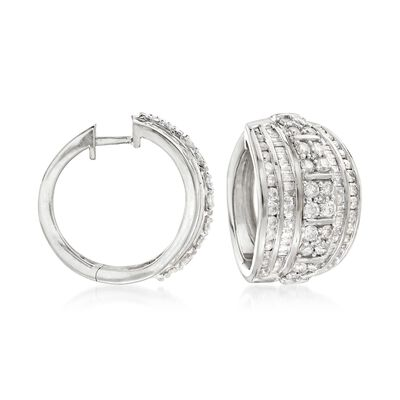 3.00 ct. t.w. Round and Baguette Diamond Hoop Earrings in Sterling Silver, , default