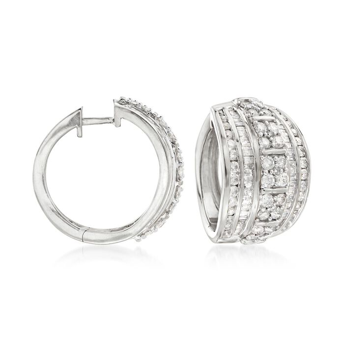 3.00 ct. t.w. Round and Baguette Diamond Hoop Earrings in Sterling Silver. 3/4""