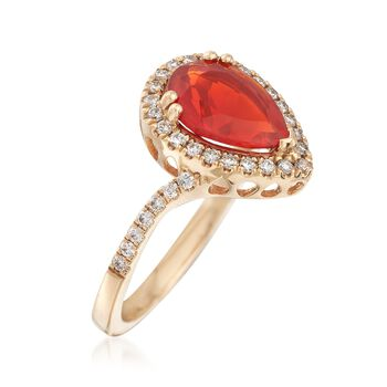 Orange Opal and .29 ct. t.w. Diamond Ring in 14kt Yellow Gold, , default