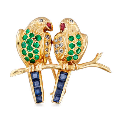 C. 1970 Vintage 1.03 ct. t.w. Multi-Gemstone and .15 ct. t.w. Diamond Birds on Branch Pin in 14kt Yellow Gold, , default