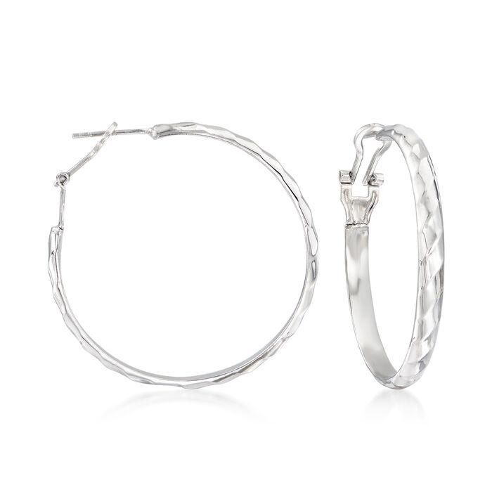 """Sterling Silver Ribbed Hoop Earrings. 1 3/4"""", , default"""