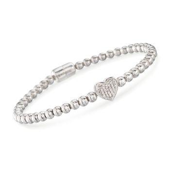 "Diamond Heart Bracelet With Sterling Silver Beads. 7"", , default"